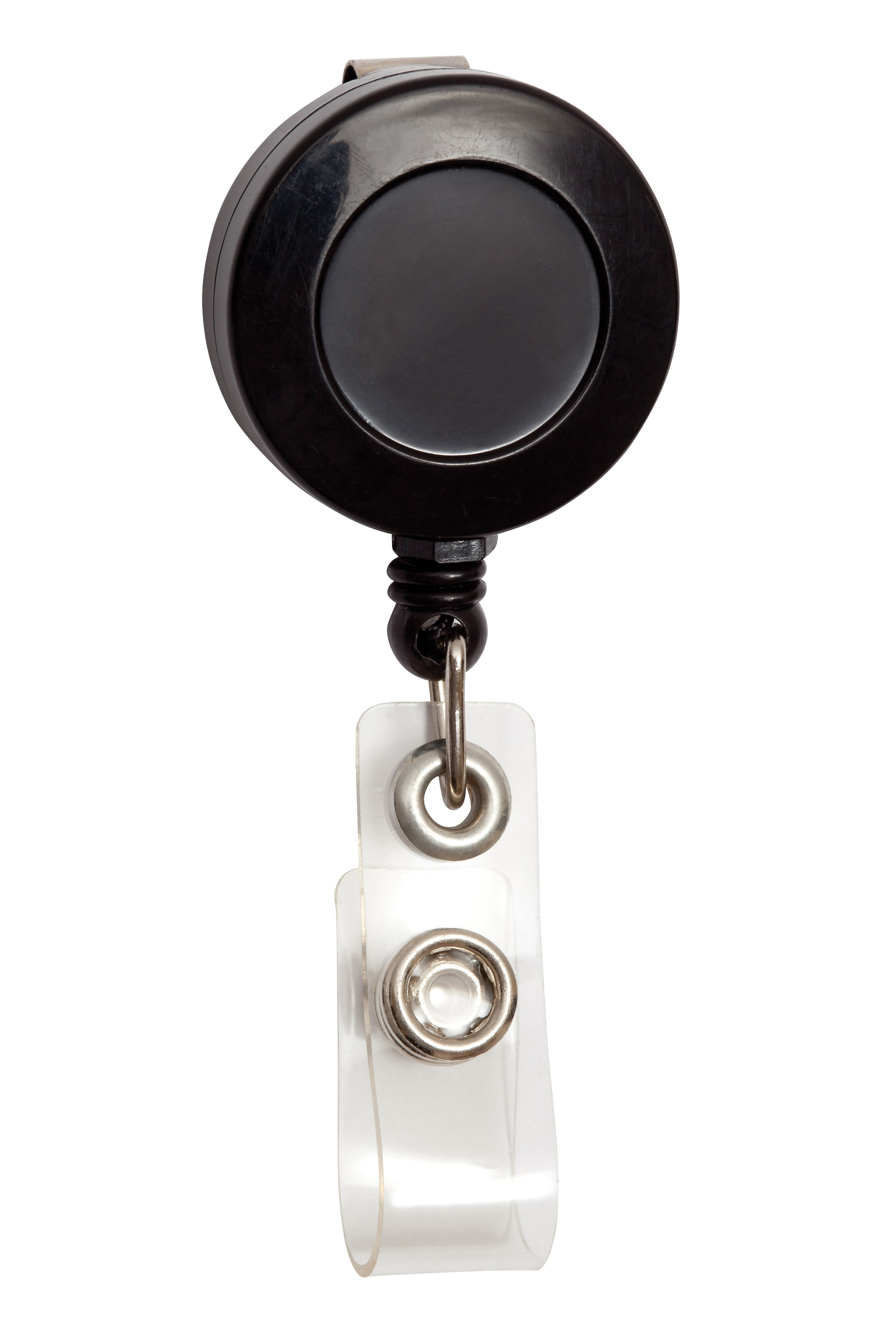 Round Retractable Badge Reels With Nylon Zip Pull Cord Are